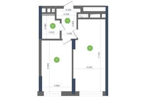 ЖК Метрополіс: планування 1-кімнатної квартири 47.25 м²