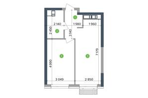 ЖК Метрополіс: планування 1-кімнатної квартири 45.08 м²