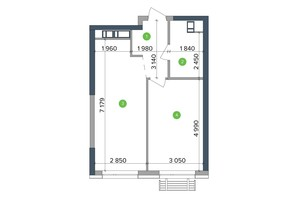 ЖК Метрополіс: планування 1-кімнатної квартири 46.02 м²