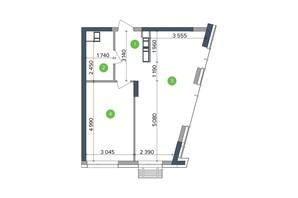 ЖК Метрополіс: планування 1-кімнатної квартири 29.28 м²