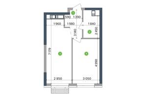 ЖК Метрополіс: планування 1-кімнатної квартири 45.56 м²
