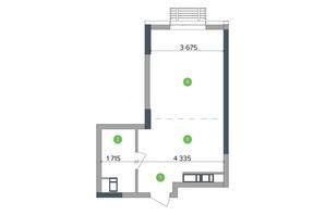 ЖК Метрополіс: планування 1-кімнатної квартири 41.56 м²
