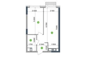 ЖК Метрополіс: планування 1-кімнатної квартири 46.36 м²