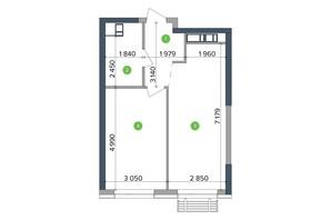 ЖК Метрополіс: планування 1-кімнатної квартири 46.03 м²