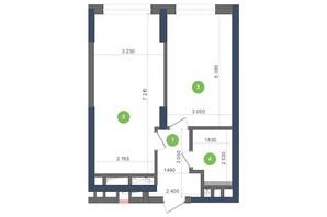 ЖК Метрополіс: планування 1-кімнатної квартири 46.66 м²