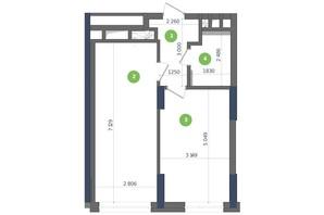 ЖК Метрополіс: планування 1-кімнатної квартири 45.42 м²