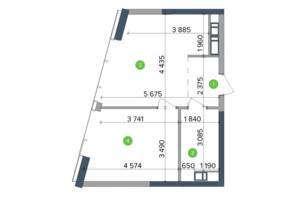 ЖК Метрополіс: планування 1-кімнатної квартири 34.2 м²