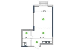 ЖК Метрополіс: планування 1-кімнатної квартири 40.73 м²