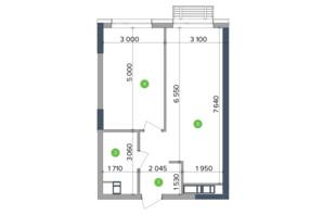 ЖК Метрополіс: планування 1-кімнатної квартири 34.58 м²
