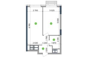 ЖК Метрополіс: планування 1-кімнатної квартири 34.51 м²