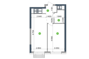 ЖК Метрополіс: планування 1-кімнатної квартири 43.85 м²