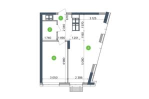 ЖК Метрополіс: планування 1-кімнатної квартири 27.99 м²