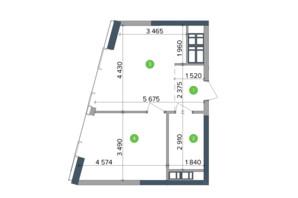 ЖК Метрополіс: планування 1-кімнатної квартири 32.96 м²