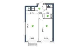 ЖК Метрополіс: планування 1-кімнатної квартири 41.88 м²