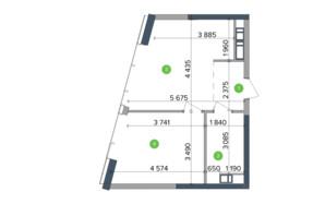 ЖК Метрополіс: планування 1-кімнатної квартири 43.95 м²
