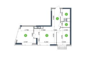 ЖК Метрополіс: планування 2-кімнатної квартири 61.82 м²