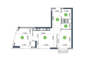 ЖК Метрополіс: планування 2-кімнатної квартири 65.53 м²