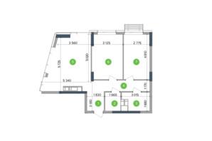 ЖК Метрополіс: планування 2-кімнатної квартири 60.49 м²