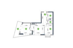 ЖК Метрополіс: планування 2-кімнатної квартири 66.83 м²
