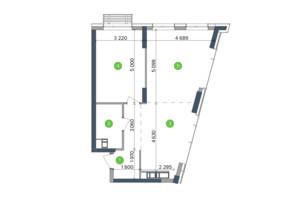 ЖК Метрополіс: планування 2-кімнатної квартири 65.87 м²