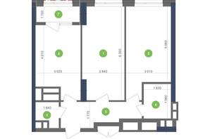 ЖК Метрополис: планировка 2-комнатной квартиры 65.7 м²