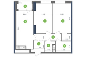 ЖК Метрополис: планировка 2-комнатной квартиры 68.68 м²