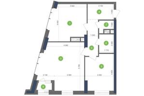 ЖК Метрополис: планировка 2-комнатной квартиры 79.59 м²