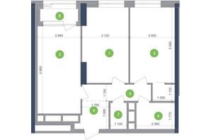 ЖК Метрополис: планировка 2-комнатной квартиры 67.88 м²