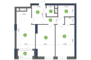 ЖК Метрополис: планировка 2-комнатной квартиры 68.79 м²