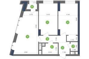 ЖК Метрополис: планировка 2-комнатной квартиры 72.12 м²