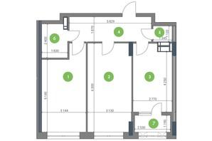 ЖК Метрополис: планировка 2-комнатной квартиры 69.6 м²