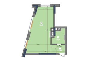 ЖК Метрополис: планировка 1-комнатной квартиры 40.48 м²