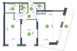 ЖК Метрополис: планировка 2-комнатной квартиры 81.11 м²
