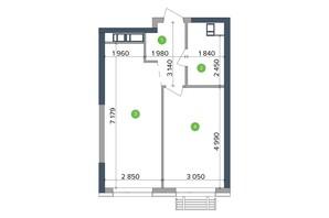 ЖК Метрополис: планировка 1-комнатной квартиры 46.02 м²
