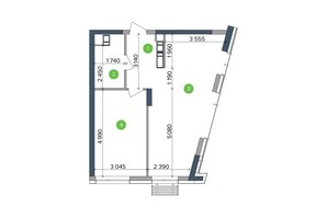 ЖК Метрополис: планировка 1-комнатной квартиры 53.95 м²