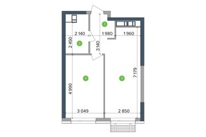 ЖК Метрополис: планировка 1-комнатной квартиры 46.06 м²