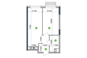 ЖК Метрополис: планировка 1-комнатной квартиры 44.78 м²