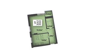 ЖК М'ята Авеню: планування приміщення 34.92 м²