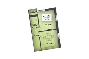 ЖК М'ята Авеню: планування приміщення 42.67 м²