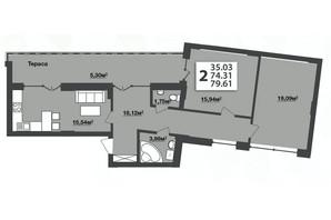 ЖК М'ята Авеню: планування 2-кімнатної квартири 79.61 м²