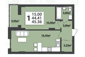 ЖК М'ята Авеню: планування 1-кімнатної квартири 45.36 м²