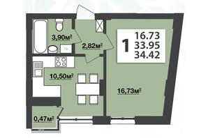 ЖК М'ята Авеню: планування 1-кімнатної квартири 34.42 м²