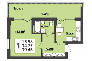 ЖК М'ята Авеню: планування 1-кімнатної квартири 39.46 м²