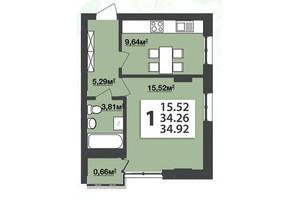 ЖК М'ята Авеню: планування 1-кімнатної квартири 34.92 м²