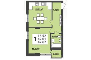 ЖК Мята Авеню: планировка 1-комнатной квартиры 42.67 м²