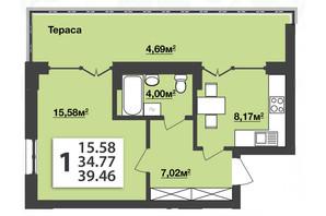 ЖК Мята Авеню: планировка 1-комнатной квартиры 39.46 м²