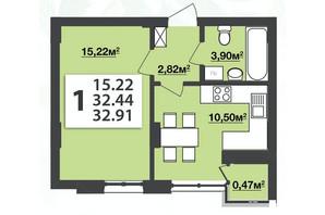 ЖК Мята Авеню: планировка 1-комнатной квартиры 32.91 м²