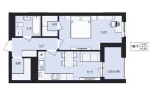 ЖК Mill town: планировка 1-комнатной квартиры 47.83 м²