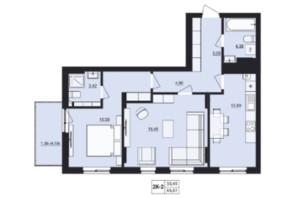 ЖК Mill town: планировка 2-комнатной квартиры 65.37 м²