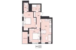 ЖК Mill town: планировка 2-комнатной квартиры 58.23 м²